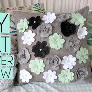 DIY Easy Felt Flower Pillow Case Home Decor