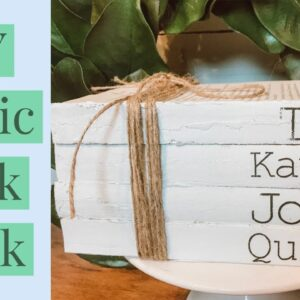 DIY RUSTIC BOOK STACK | MONOGRAMMED USING STENCIL FROM CRICUT