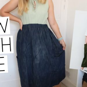 SEW WITH ME | Peppermint Paper Theory Free Skirt Pattern! Feat Purple Sewing Cloud