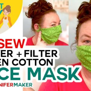 No-Sew Woven Cotton Face Mask with Two Layers + Filter Pocket -- No Elastic, No Ties!