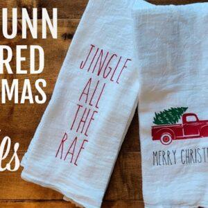 RAE DUNN INPIRED TEA TOWELS USING CRICUT | FARMHOUSE CHRISTMAS 2018