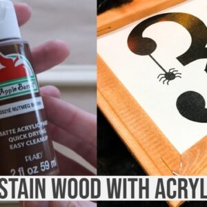 STAIN WOOD WITH ACRYLIC PAINT AND BABY WIPES | HALLOWEEN REVERSE CANVAS