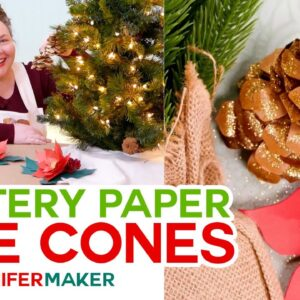 Christmas Pine Cones made with Paper, Glitter, & Glue!