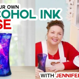 DIY Stunning Glass Vase Made With Alcohol Ink and Stencils!