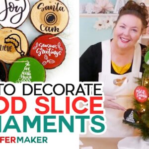 DIY Wood Slice Ornaments - Personalized with Vinyl Decals!