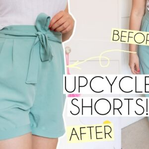 EASY UPCYCLE TROUSERS INTO PAPER BAG STYLE SHORTS | THRIFT FLIP
