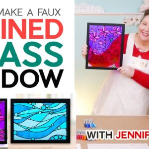 Make a Faux Stained Glass Window with Vinyl and Sharpie markers!