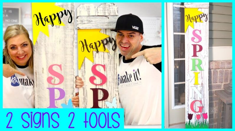 DIY Happy SPRING Front Porch Welcome Sign