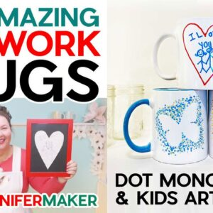 Freehand Artwork Mugs with Infusible Ink Markers: Dot Monograms & Kids Art Mugs!