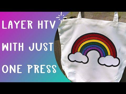 Layering HTV in one press Cricut hack - Glitter HTV layered
