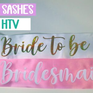 Bride and Bridesmaid sashes with Heat Transfer vinyl - Iron on on Satin