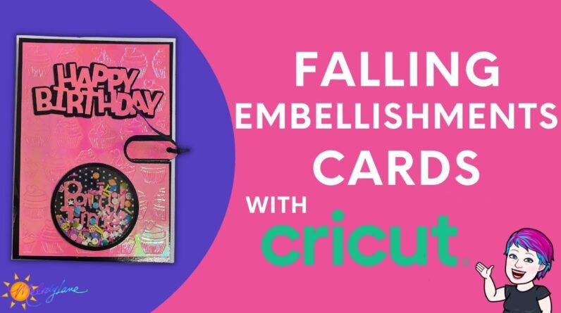 Falling Embellishments Card with Cricut