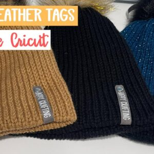 How to make Faux leather tags for beanies and other handmade crafts with Cricut and HTV