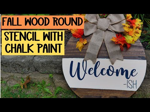 Wood rounds with your Cricut - Stenciling with vinyl and chalk paint - How to seal wood and stain