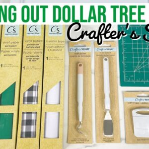 TESTING OUT & REVIEWING DOLLAR TREE CRAFTER'S SQUARE PRODUCTS - VINYL, TRANSFER TAPE, & TOOLS!