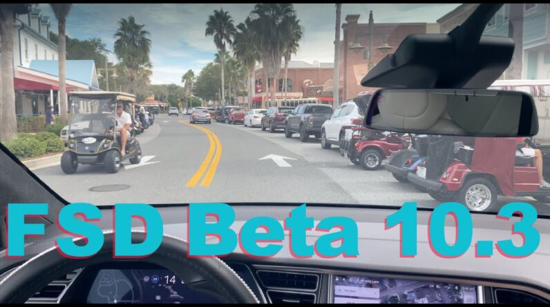 Tesla FSD Beta 10.3 The Villages Florida Roundabouts Town Square Model X